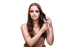Beautiful woman showing off her jewellery in fashion concept iso Stock Photos