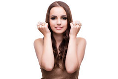 Beautiful woman showing off her jewellery in fashion concept iso Royalty Free Stock Image