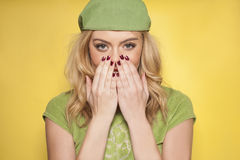 Beautiful woman showing off her manicured nails Royalty Free Stock Photos