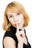 A beautiful woman showing the silence Royalty Free Stock Image
