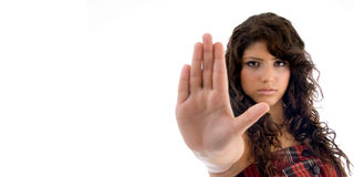 Beautiful woman showing stopping gesture Stock Image