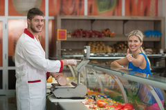 Beautiful Woman Showing Thumbs Up In Supermarket Stock Images