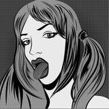 Beautiful woman showing tongue. Vector illustration Royalty Free Stock Photos