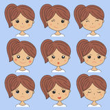 Beautiful woman showing various facial expressions. Happy, sad, angry, cry, smile. Cartoon girl icons set  on. Blue background. Vector illustration for avatars Royalty Free Stock Photos