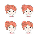 Beautiful woman showing various facial expressions. Happy, sad, angry, cry, smile. Cartoon girl icons set  on. Blue background. Vector illustration for avatars Stock Photography