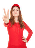 Beautiful woman showing victory sign or peace isolated on white Royalty Free Stock Photo
