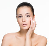 Beautiful woman shows aging process Stock Images