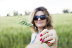 Beautiful woman shows an ear of corn Royalty Free Stock Photography