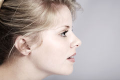 Beautiful woman with the side view Stock Photo