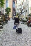 Beautiful woman sightseeing city stock image