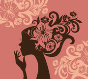 Beautiful woman silhouette. With a flowers, vector Royalty Free Stock Photos