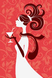 Beautiful woman silhouette. With a glass in a hand, vector illustartion Royalty Free Stock Photo
