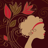 Beautiful woman silhouette. With a flowers, vector Stock Photos