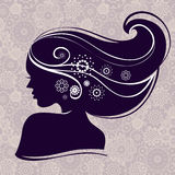Beautiful woman silhouette. With flowers Royalty Free Stock Photography