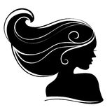 Beautiful woman silhouette. On white background Stock Images