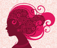 Beautiful woman silhouette. With flowers Stock Images