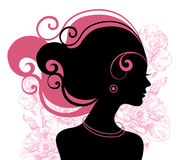 Beautiful woman silhouette. With flowers Royalty Free Stock Photo