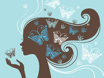 Beautiful woman silhouette. With butterfly Stock Photography