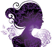 Beautiful woman silhouette. With a flowers Stock Photography