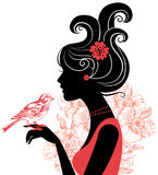 Beautiful woman silhouette. With a bird Royalty Free Stock Photos