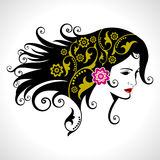 Beautiful woman silhouette in floral pattern Royalty Free Stock Image
