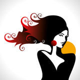 Beautiful woman silhouette in glamourus syle Royalty Free Stock Photos