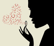 Beautiful woman silhouette with heart. Valentine card. Beautiful woman silhouette with heart Stock Image