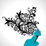 Beautiful woman silhouette infloral pattern Royalty Free Stock Images