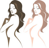 Beautiful woman. Silhouette linear vector drawing Stock Images