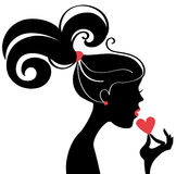 Beautiful woman silhouette profile. Vector Royalty Free Stock Photos