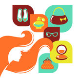 Beautiful woman silhouette with shopping icons Stock Photo