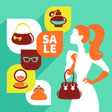Beautiful woman silhouette with shopping icons Royalty Free Stock Image