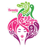 Beautiful woman silhouette. Tattoo of abstract Royalty Free Stock Image