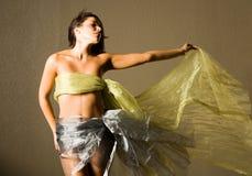 Beautiful woman in silk Stock Photography