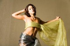 Beautiful woman in silk Stock Photo