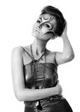 Beautiful woman with silver bodyart Royalty Free Stock Images