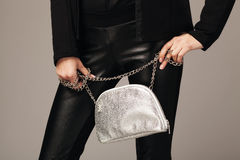 Beautiful woman with a silver fashion bag Stock Image