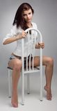 Beautiful woman sit on chair Royalty Free Stock Photos