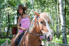 beautiful woman sits astride on a horse Royalty Free Stock Photography