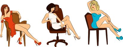 Beautiful woman sits on a chair Royalty Free Stock Photos