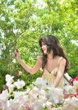 Beautiful woman sitting in a beautiful garden Stock Photography