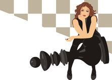 Beautiful woman sitting on the black king chess Royalty Free Stock Image