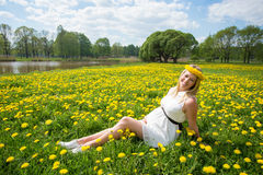Beautiful woman sitting in grass Royalty Free Stock Photo