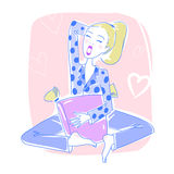 Beautiful woman sitting in her bedroom yawning and relaxing. Vector illustration eps 10 stock illustration