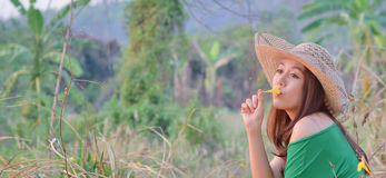 Beautiful woman sitting and kiss yellow flower Royalty Free Stock Photography