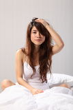Beautiful Woman Sitting Up In Bed Bad Hair Stock Photo