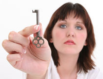 Beautiful Woman with Skeleton Key Royalty Free Stock Photos
