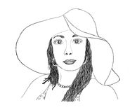 Beautiful woman sketch Stock Photos