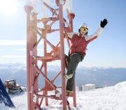 Beautiful woman at ski resort Stock Photos