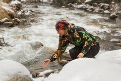 Beautiful woman in ski suit in snowy winter , Kazakhstan Royalty Free Stock Images